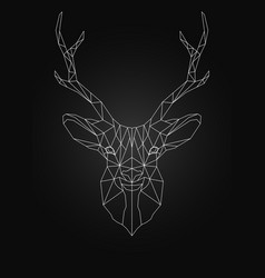 deer head linear wire ow poly style vector image