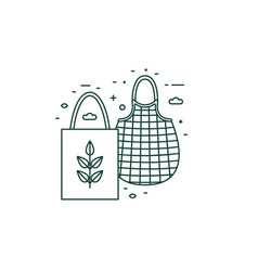 Eco friendly grocery bags line art icon vector