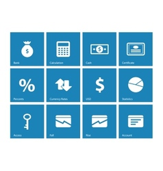 Economy icons on blue background vector