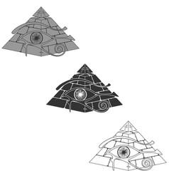 Egyptian pyramid silhouette with 3d horus eye vector