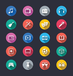 Entertainment simple color icons vector