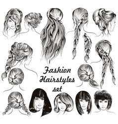 fashion different female hairstyles set vector image