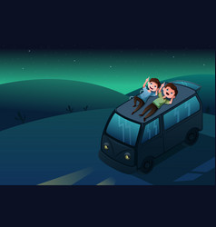 Father and son looking at stars at night vector