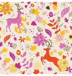 floral background wig deer vector image