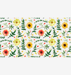 Flower floral seamless pattern design orange red vector