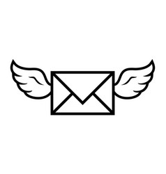 Flying wings envelope icon vector