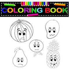 fresh fruit with face coloring book vector image