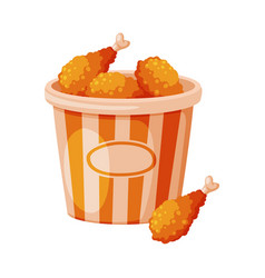 Fried chicken drumsticks in paper bucket fast vector
