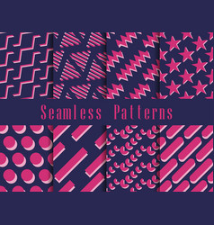 geometric seamless pattern set geometric figures vector image