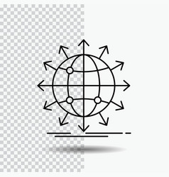 Globe network arrow news worldwide line icon on vector
