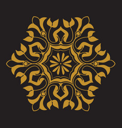 golden pattern on black background vector image