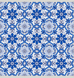 gorgeous seamless pattern from dark blue and white vector image