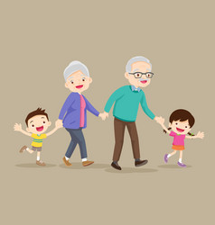 Grandparents with kids are walker vector