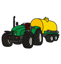 Green tractor with a yellow tank trailer vector