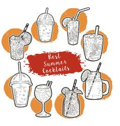 hand drawn cocktail menu best summer cocktails vector image