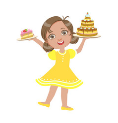 Happy girl standing with a birthday cake in her vector