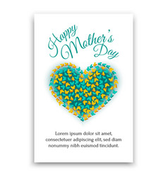 Happy mothers day postcard heart shaped design vector