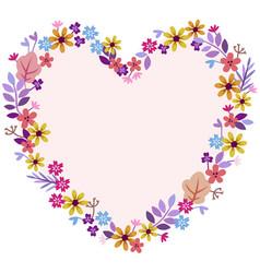 Heart of meadow flowers vector