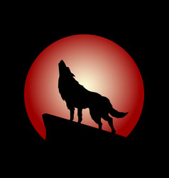 howling wolf with red moon vector image