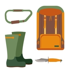 Hunting knife and backpack for trekking vector image