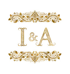 I and a vintage initials logo symbol the letters vector