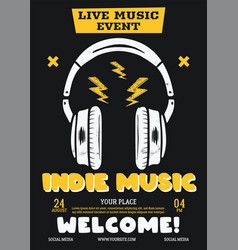 indie music flyer live event poster vector image