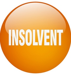 Insolvent orange round gel isolated push button vector