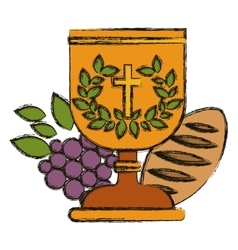 Isolated religion cup bread and grapes design vector