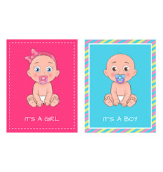 it girl and boy set of posters dedicated to baby vector image