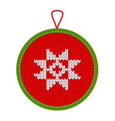 Knitted christmas decoration star vector