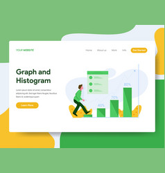 landing page template graph and histogram vector image