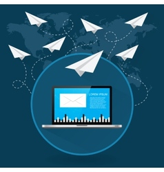 Mails flying around the world as paper airplanes vector