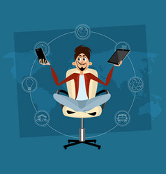 Man meditating in office vector