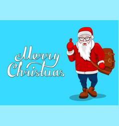 merry christmas card fashion santa thumb up flat vector image