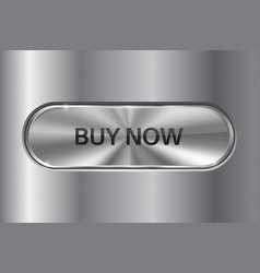 metal oval button on stainless steel background vector image