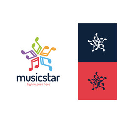 music star logo design template star music vector image