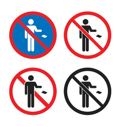 No littering icon set do not throw garbage sign vector