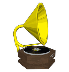 Old retro gramophone on white background vector
