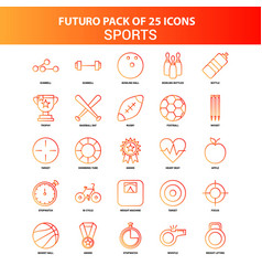 orange futuro 25 sports icon set vector image