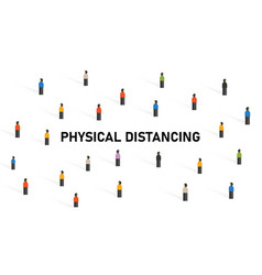 Physical distancing crowd people to avoid vector