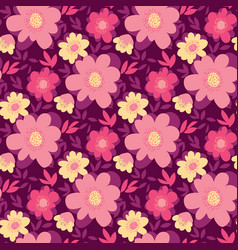 pink and yellow abstract flower seamless pattern vector image