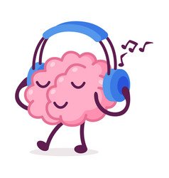 Pink brain walking and listening music with vector