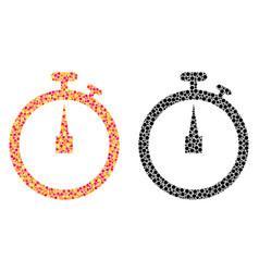 Pixel stopwatch mosaic icons vector