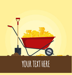red wheelbarrow full of golden coins isolated on vector image