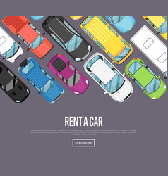 rent a car poster with modern city cars vector image