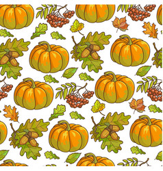 Ripe pumpkin maple leaves and rowanberry seamless vector