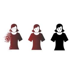 Sadly dust pixelated halftone female icon vector