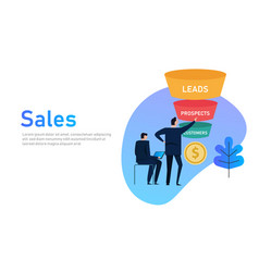 Sales funnel business concept of leads prospects vector
