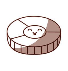 Salmon slice kawaii character vector