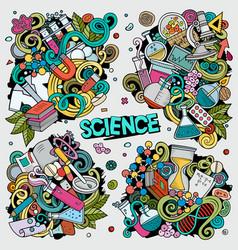 science cartoon doodle designs set vector image